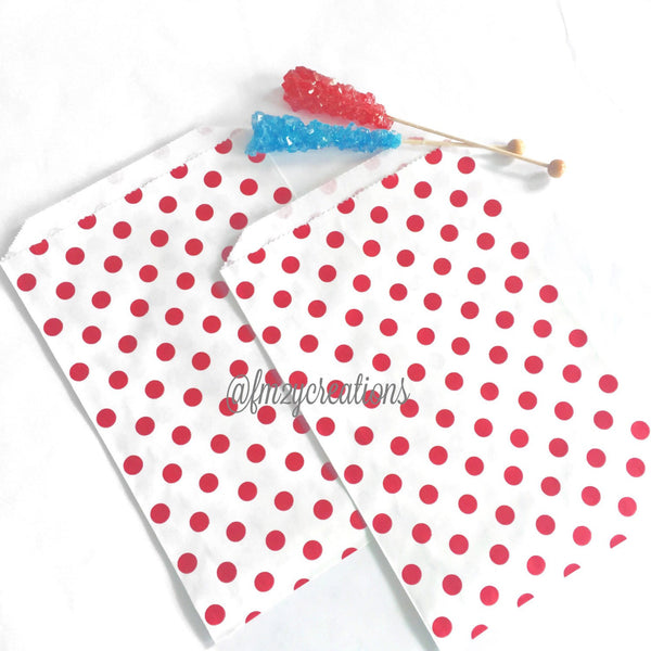 POLKA DOT FAVOR BAGS: RED POLKA DOT (LARGE)