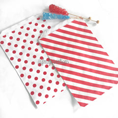 STRIPE FAVOR BAGS: RED (LARGE) - From Me 2 You Creations