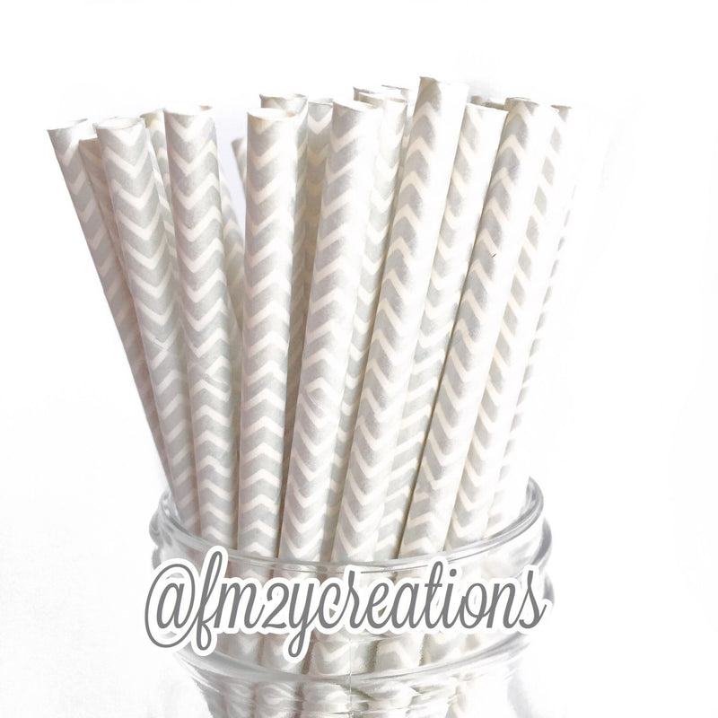 CHEVRON PAPER STRAWS: Silver - From Me 2 You Creations