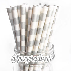 CIRCLE PAPER STRAWS: Silver - From Me 2 You Creations