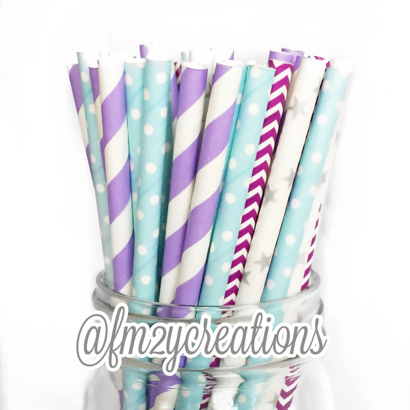 COMBO PAPER STRAWS: Frozen Party - From Me 2 You Creations