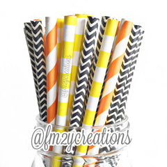 COMBO PAPER STRAWS: Construction Party - From Me 2 You Creations