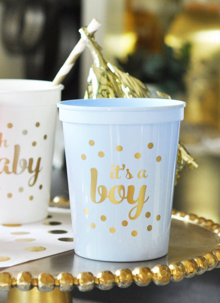 PARTY CUPS PLASTIC: IT'S A BOY