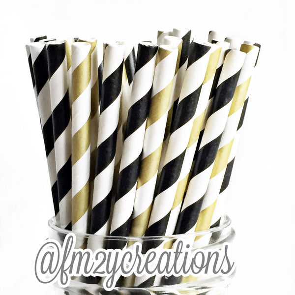 COMBO PAPER STRAWS: Black|Gold