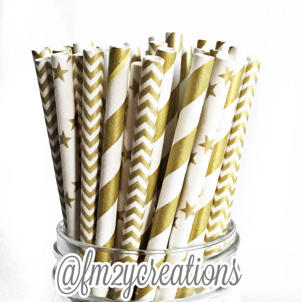 COMBO PAPER STRAWS: Multi Gold Pattern