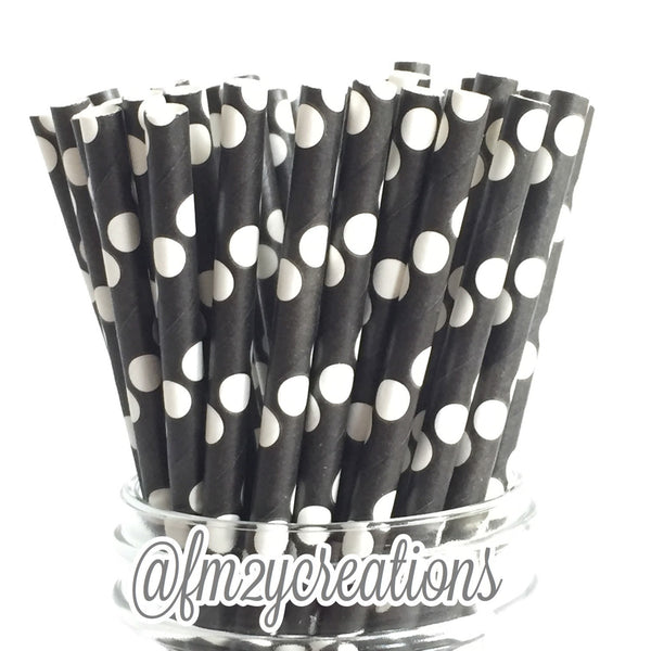 POLKA DOT PAPER STRAWS: Black w/ White