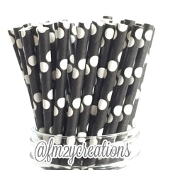 POLKA DOT PAPER STRAWS: Black w/ White - From Me 2 You Creations