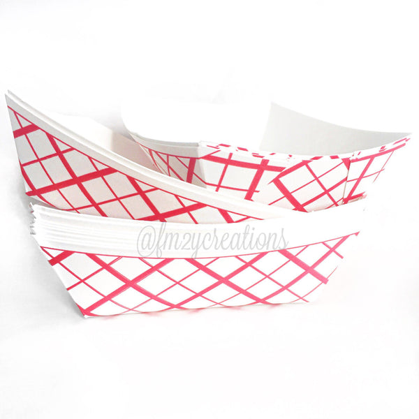 Paper Food Trays (25),1 lb. Red Check Pattern,Circus Party,Carnival Party,Baseball Party, Movie Night, Slumber Party,Snack Boat,Hotdog Tray