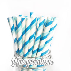 STRIPE PAPER STRAWS: Blue Double - From Me 2 You Creations
