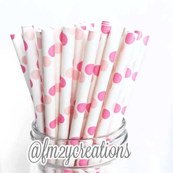 POLKA DOT PAPER STRAWS: Pink Double