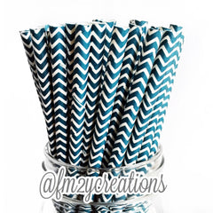 CHEVRON PAPER STRAWS: Navy Blue - From Me 2 You Creations