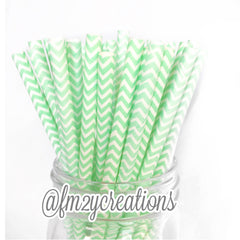 CHEVRON PAPER STRAWS: Mint Green - From Me 2 You Creations