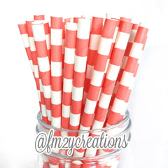 CIRCLE PAPER STRAWS: Coral - From Me 2 You Creations