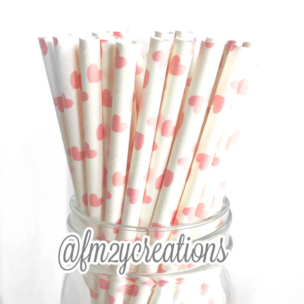 HEART PAPER STRAWS: Light Pink