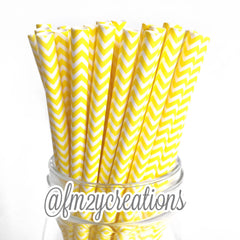 CHEVRON PAPER STRAWS: Yellow - From Me 2 You Creations