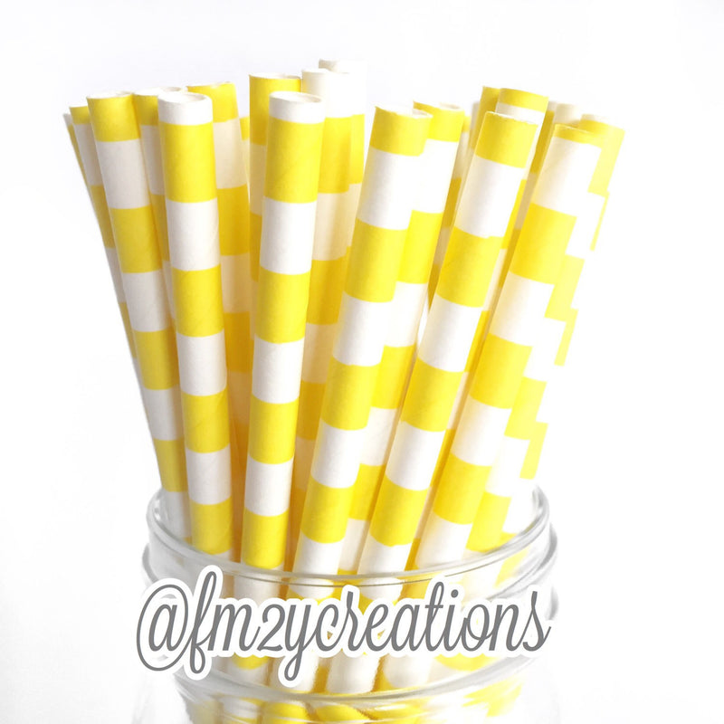 CIRCLE PAPER STRAWS: Yellow - From Me 2 You Creations