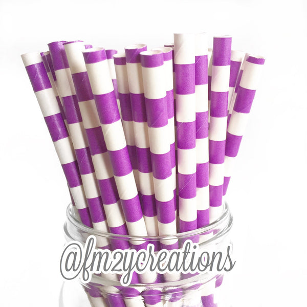 CIRCLE PAPER STRAWS: Purple