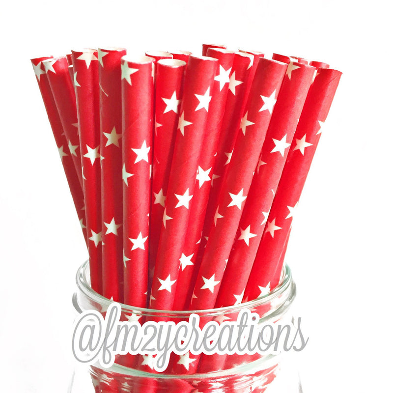 STAR PAPER STRAWS: Red - From Me 2 You Creations