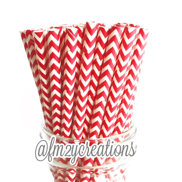 CHEVRON PAPER STRAWS: Red