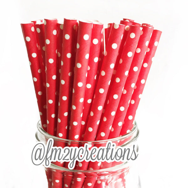 POLKA DOT PAPER STRAWS: Red Swiss