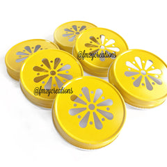 MASON JAR DAISY LIDS: YELLOW - From Me 2 You Creations