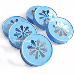 MASON JAR DAISY LIDS: LIGHT BLUE - From Me 2 You Creations
