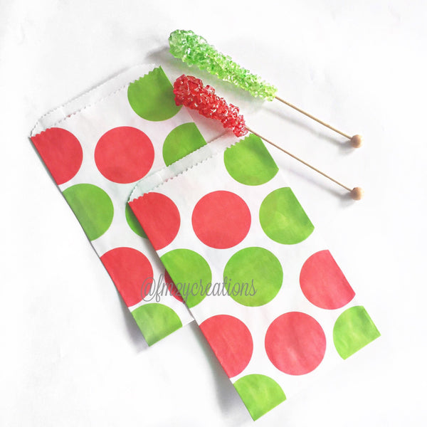 HOLIDAY FAVOR BAGS: RED | GREEN POLKA DOT