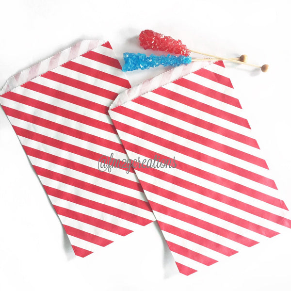 STRIPE FAVOR BAGS: RED (LARGE)