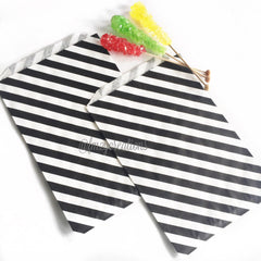 STRIPE FAVOR BAGS: BLACK (LARGE) - From Me 2 You Creations