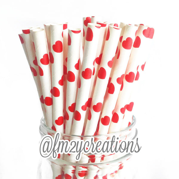 HEART PAPER STRAWS: Red
