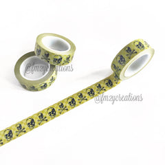WASHI TAPE: PATTERN Olive Skulls - From Me 2 You Creations