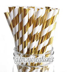 STRIPE PAPER STRAWS: Gold Foil - From Me 2 You Creations