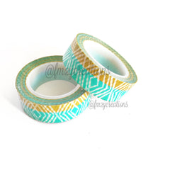 WASHI TAPE: PATTERN Aqua|Gold - From Me 2 You Creations