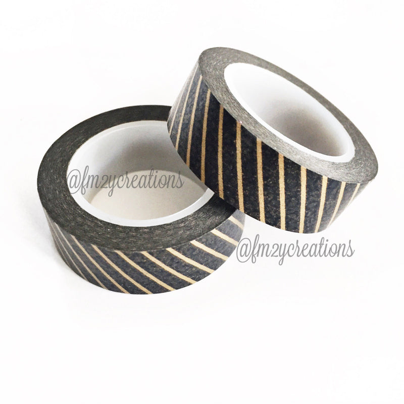 WASHI TAPE: STRIPE Black|Copper - From Me 2 You Creations