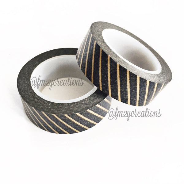 WASHI TAPE: STRIPE Black|Copper