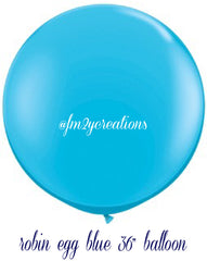 "36"" Robin's Egg Blue Round Latex Balloons - From Me 2 You Creations"