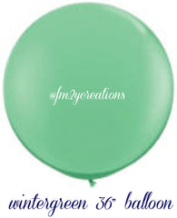 "36"" Wintergreen Round Latex Balloons - From Me 2 You Creations"