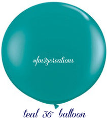 "36"" Teal Round Latex Balloon - From Me 2 You Creations"