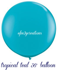 "36"" Tropical Teal Round Latex Balloon - From Me 2 You Creations"
