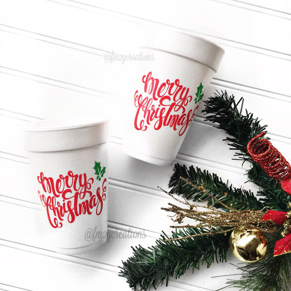 PARTY CUPS FOAM: CHRISTMAS MERRY