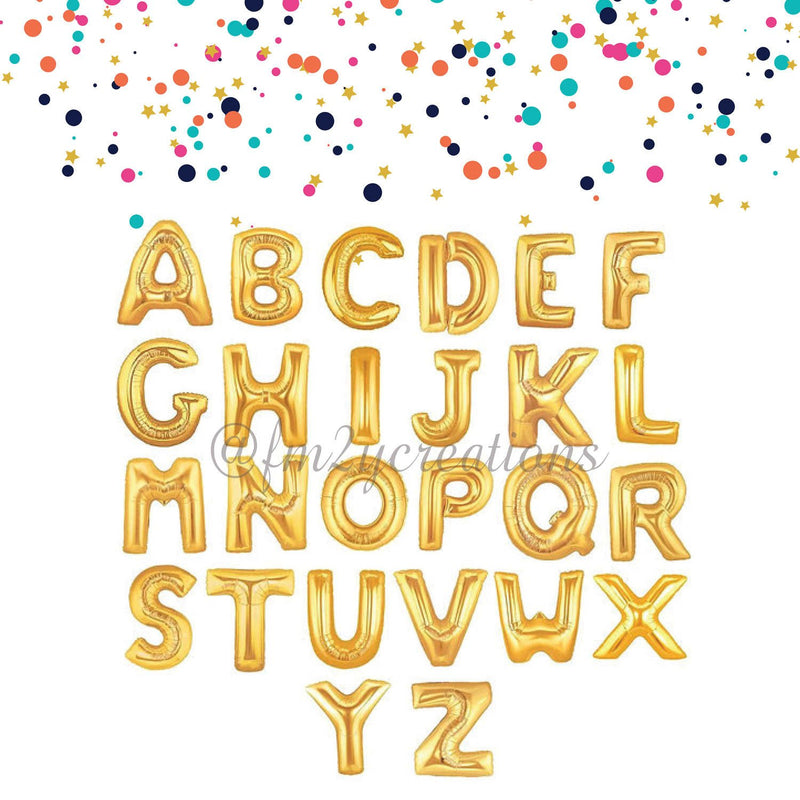 "Gold Mylar 16"" Letter Balloon"