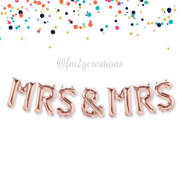 LETTER BALLOON PHRASE | MRS AND MRS