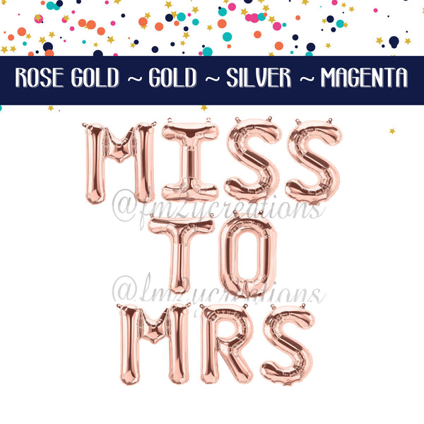 LETTER BALLOON PHRASE | MISS to MRS