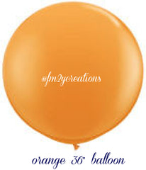 "36"" Orange Round Latex Balloons - From Me 2 You Creations"