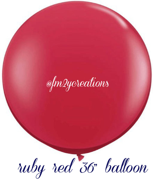 "36"" Ruby Red Round Latex Balloons"