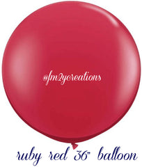 "36"" Ruby Red Round Latex Balloons - From Me 2 You Creations"