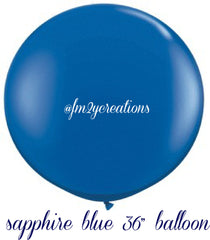 "36"" Sapphire Blue Round Latex Balloon - From Me 2 You Creations"