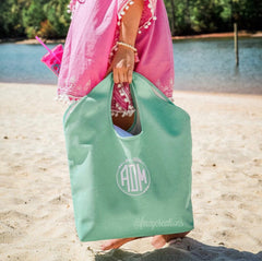 Monogram Jute Beach Bag | Tote - From Me 2 You Creations