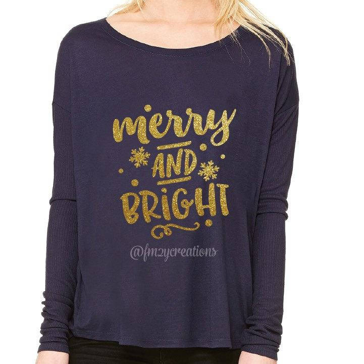 Merry and Bright Gold Glitter Holiday Off The Shoulder Shirt