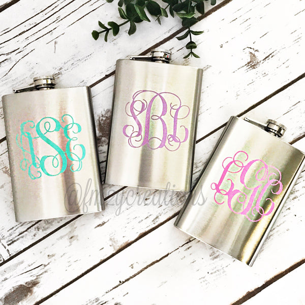 Monogram Flask | 8 oz | Vine Font